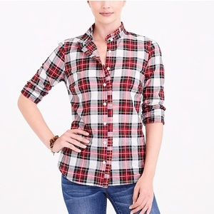 J. Crew Ruffle Front Plaid Shirt